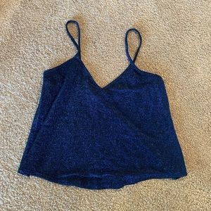 urban outfitters sparkly blue tank top